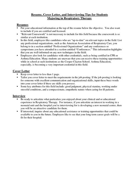 respiratory therapy resumes exles respiratory therapist cover letter resume cover letter and interviewing tips for students