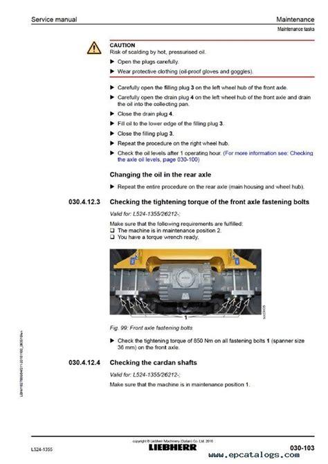 liebherr l524 1355 wheel loader service manual pdf