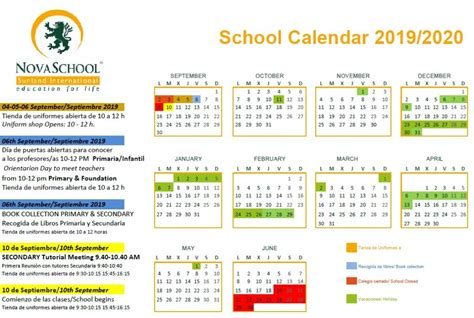 calendario novaschool sunland international