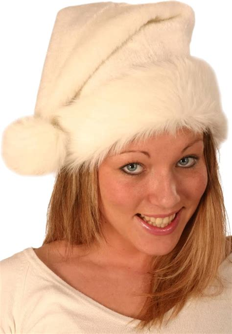 deluxe white christmas hat with double fur edge uc2h6662