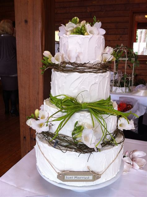 Rustic Wedding Cake Covered In Rough Royal Icing And