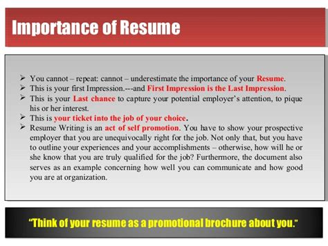 The Importance Of A Resume by Resume Is Mirror Of Your Personality