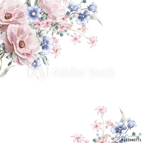 card watercolor wedding invitation design  pink rose