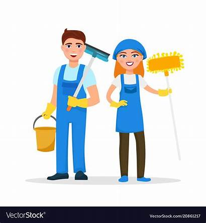 Cartoon Cleaning Staff Characters Smiling Bhk Apartment