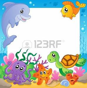 Frame with underwater animals 1 - vector illustration ...