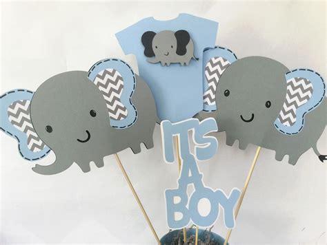 elephant baby shower centerpiece  blue  gray