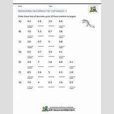Math Worksheets 4th Grade Ordering Decimals To 2dp