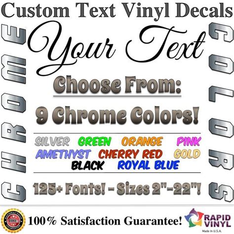 Chrome Custom Vinyl Lettering Text Decal Car Truck Boat Rv