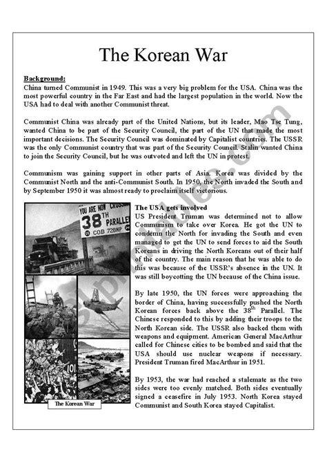 worksheets korean war