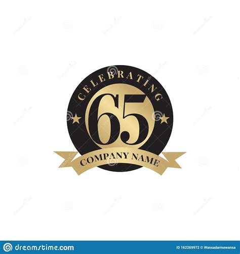 65th Year Celebration Anniversary Emblem Logo Design Stock