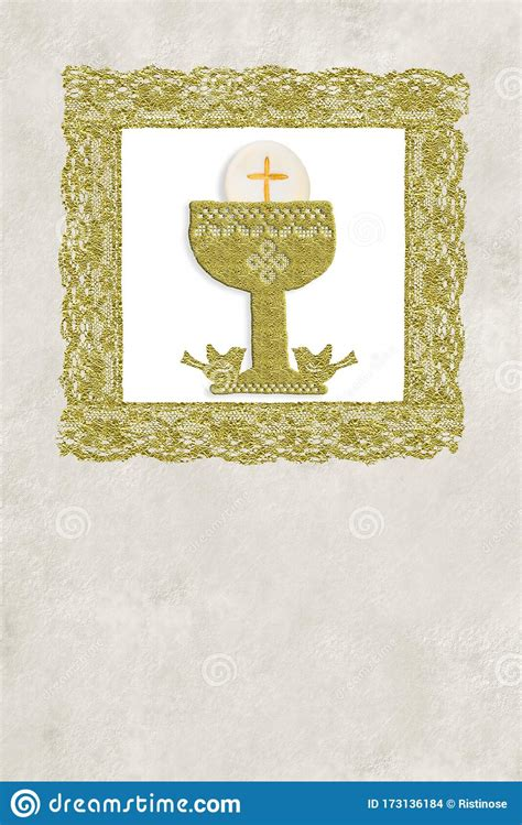 First Holy Communion Vintage Invitation Card Vertical