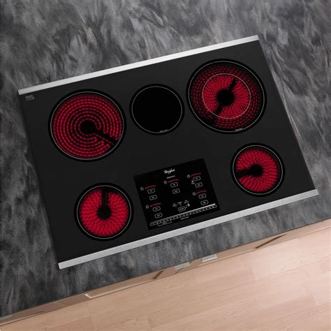 cooktop whirlpool electric radiant elements stainless steel smoothtop surface burners kitchen indicator lights gold vent accusimmer plus controls series touch