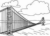 Gate Golden Coloring Pont American Drawings 529px 33kb Monuments sketch template