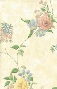 Pastel Flowers Vintage Wallpaper Pink Blue Cream Faux ...