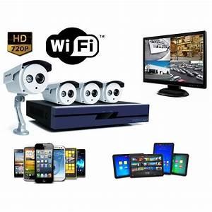 Systeme Video Surveillance Sans Fil : kit video surveillance exterieur wifi 4 cameras hd 720p ~ Edinachiropracticcenter.com Idées de Décoration