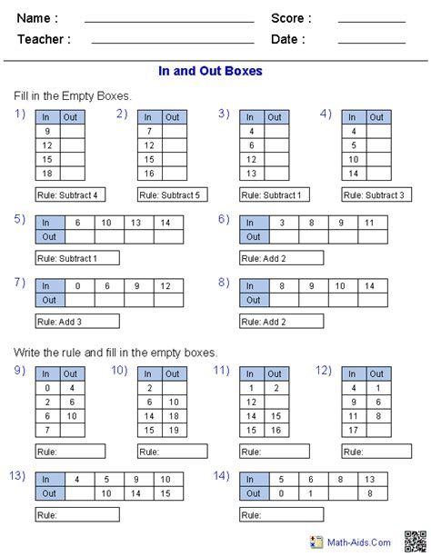 Function Table Worksheets  Function Table & In And Out Boxes Worksheets