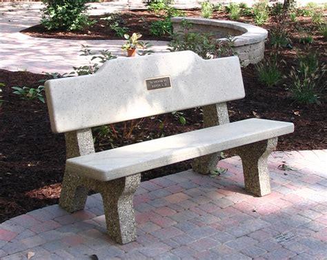 All Concrete Classic Memorial Bench W Plateau Back