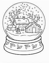 Coloring Winter Pages Adults Snowglobe sketch template