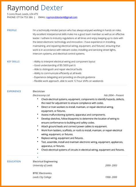 Electrician Resume Template by 11 Electrical Technician Cv Sle Defense