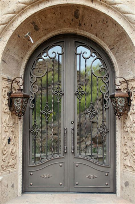 iron entry doors mediterranean exterior by