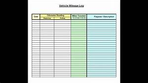 Mileage Log Forms Vehicle Mileage Log Template Excel Youtube