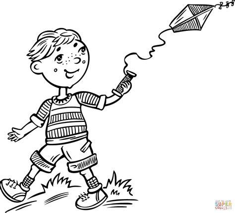 Dibujo de Niño Volando una Cometa para colorear