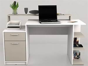 Bureau Avec Rangement : bureau zacharie 1 tiroir 1 porte blanc taupe ~ Teatrodelosmanantiales.com Idées de Décoration