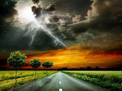 Scenery Sky Clouds Nature Lightning Grass Thundercloud