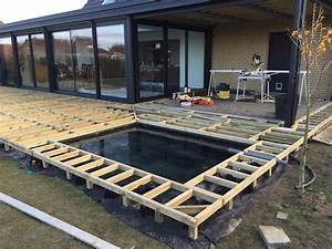amenagement paysager avec terrasse et bassin integre With jardin paysager avec piscine 5 terrasse en bois composite fiberon xtrem galaxy jardin