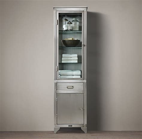 1930s laboratory stainless steel storage cabinet tall