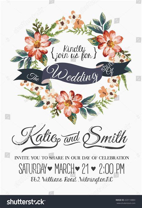 Wedding Invitation Card Romantic Flower Templates Stock