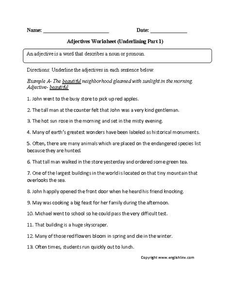underlining adjectives worksheet classroom ideas