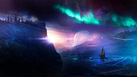 Hd Night Sky Wallpapers Sailboat Under The Aurora Borealis Fantasy Art Wallpaper Wallpaper Studio 10 Tens Of