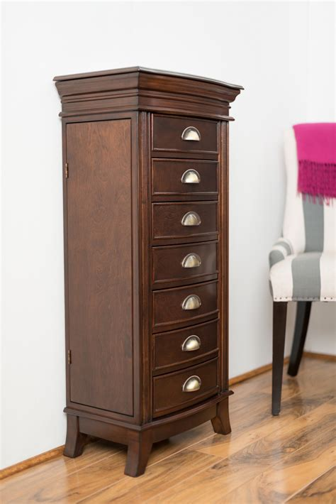 Hillary Jewelry Armoire  Rich Walnut  Hives And Honey