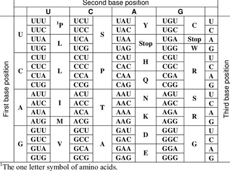 Code Table by The Standard Genetic Code Table Table