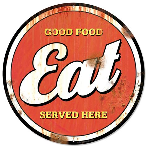 plaque metal cuisine eat food here distressed metal sign vintage style