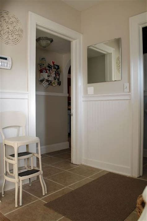 hallway and alcove beadbaord and trim in white walls in