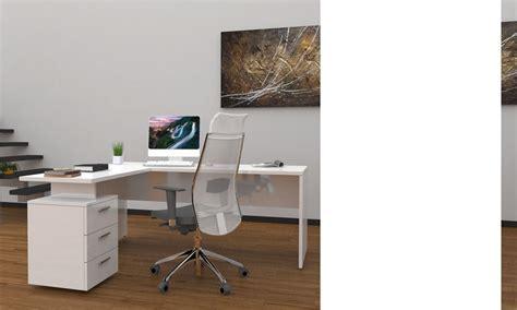 bureau a but ensemble bureau d 39 angle moderne blanc laqué wanda