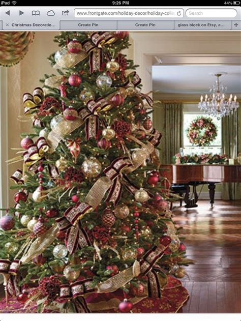 burgundy and gold christmas tree christmas pinterest