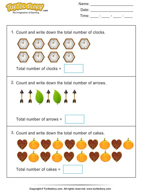 thanksgiving counting worksheet 5 turtle diary