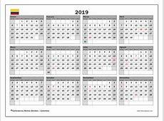 Calendario 2019 colombia Download 2019 Calendar