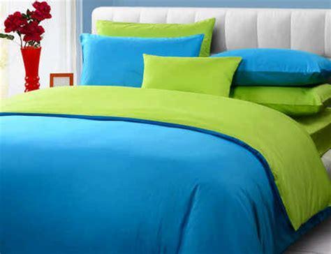 Harga Sprei Merk Green detail product seprei dan bedcover polos biru mix hijau