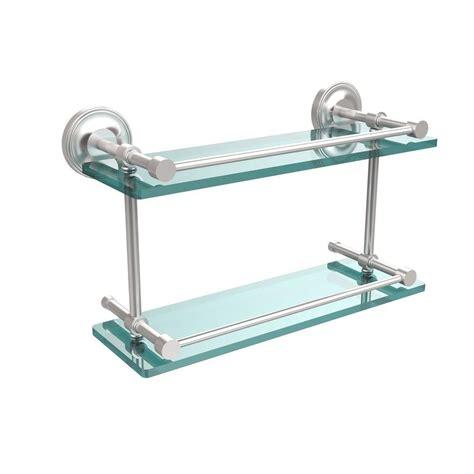 allied brass prestige regal in l 8 in h 5 in w 2 tier clear glass bathroom shelf with