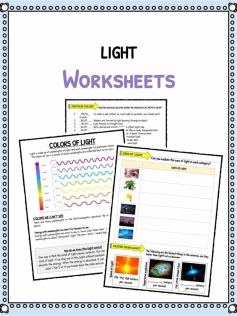 speed of light worksheet light facts worksheets for types speed of light