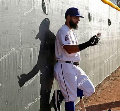 Texas Rangers Editorial Rougned Odor Talks Phone