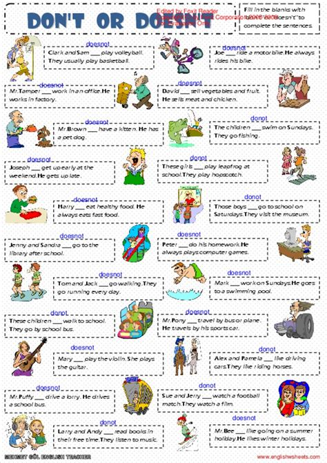 Present Simple Tense Dont Or Doesnt