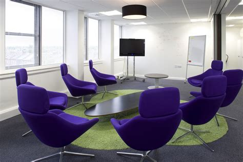 creative office meeting room design with purple
