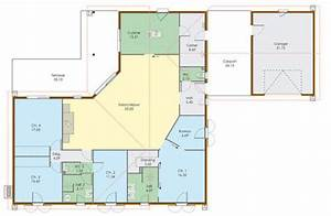 plan maison 5 chambres plain pied With plan maison 5 chambres plain pied