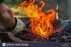 The blacksmith patiently works and shapes the red hot ...
