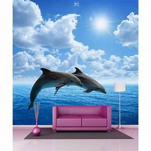 Papier Peint Geant : papier peint g ant dauphins 250x250cm art d co stickers ~ Premium-room.com Idées de Décoration